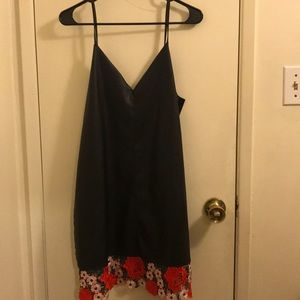 Black faux leather dress w/ beautiful lace bottom